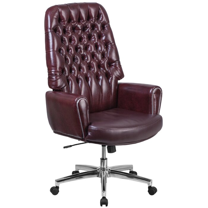 Miraculous Abbate Traditional Tufted High Back Leather Executive Chair Machost Co Dining Chair Design Ideas Machostcouk