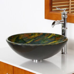 Elite Whirlpool Glass Circular Vessel Bathroom Sink