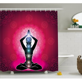 Meredith Chakra Maroon Silhouette of Yoga Woman With Cores With Neon Featured Boho Design Single Shower Curtain