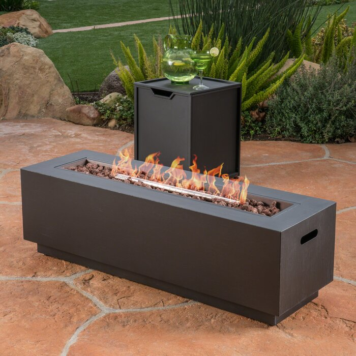 Lefkowski Outdoor Metal Propane Gas Fire Pit Table