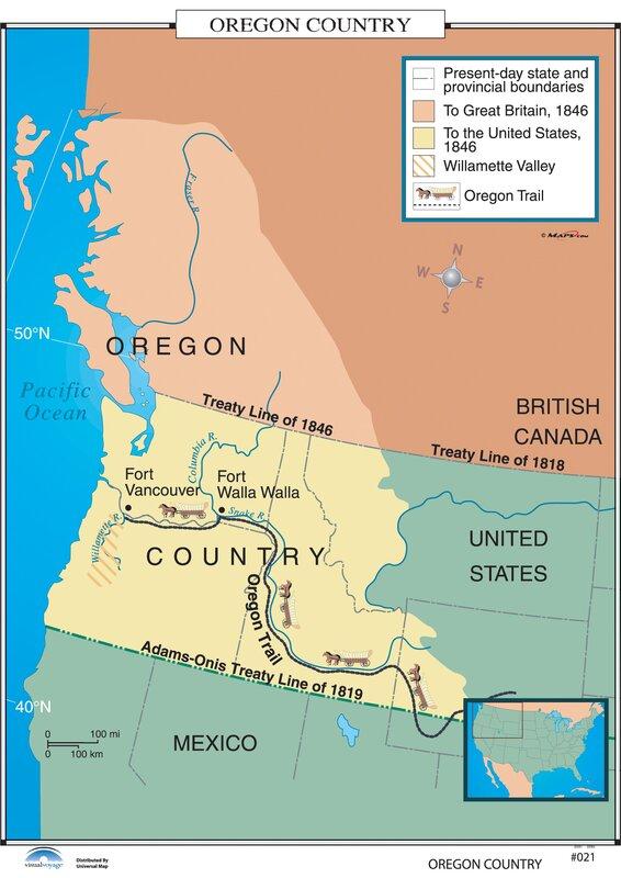 Universal Map US History Wall Maps Oregon Country Wayfair - 1819 map of us