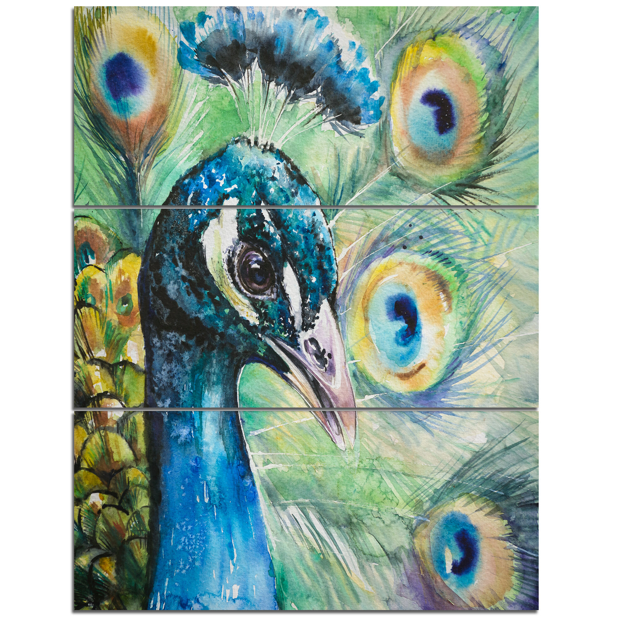 Designart Larger Peacock Watercolor 3 Piece Wall Art On Wrapped Canvas Set Wayfair
