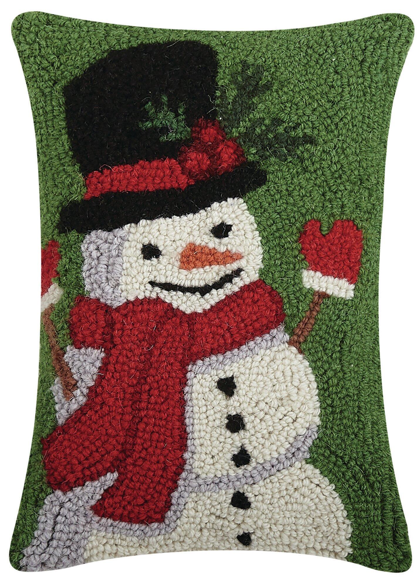 The Holiday Aisle Refugio Happy Snowman Hook Wool Lumbar Pillow Wayfair