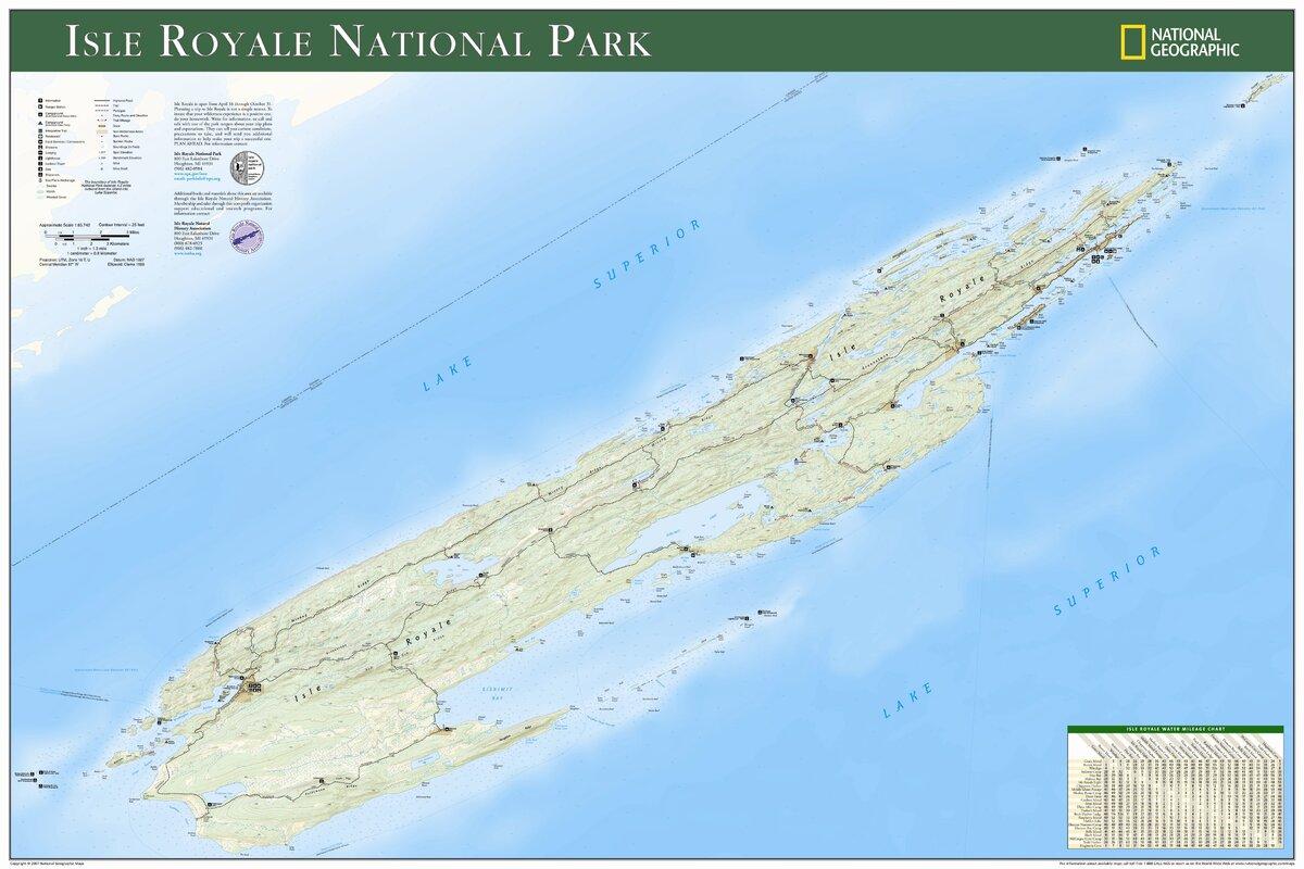 Isle Royale National Park Wall Map