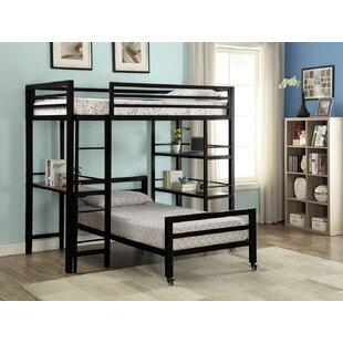 Bartholomew Twin over Twin Loft Bed with Bookshelf and Desk