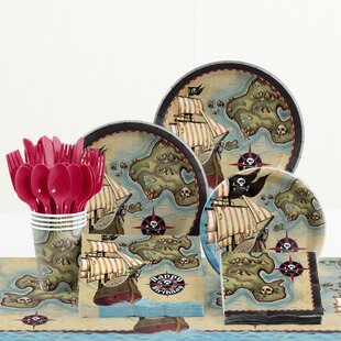 81 Piece Pirate's Map Birthday Paper/Plastic Tableware Set