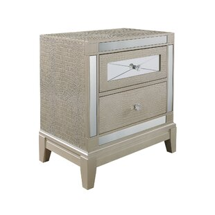 Rosdorf Park Ajax Textured 2 Drawer Nightstand