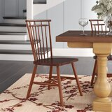 Aubrianna Wood Windsor Back Side Chair in Medium Brown (Set of 2) by Three Posts™