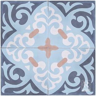 Espanola 8 X Cement Field Tile In Blue Set Of 4