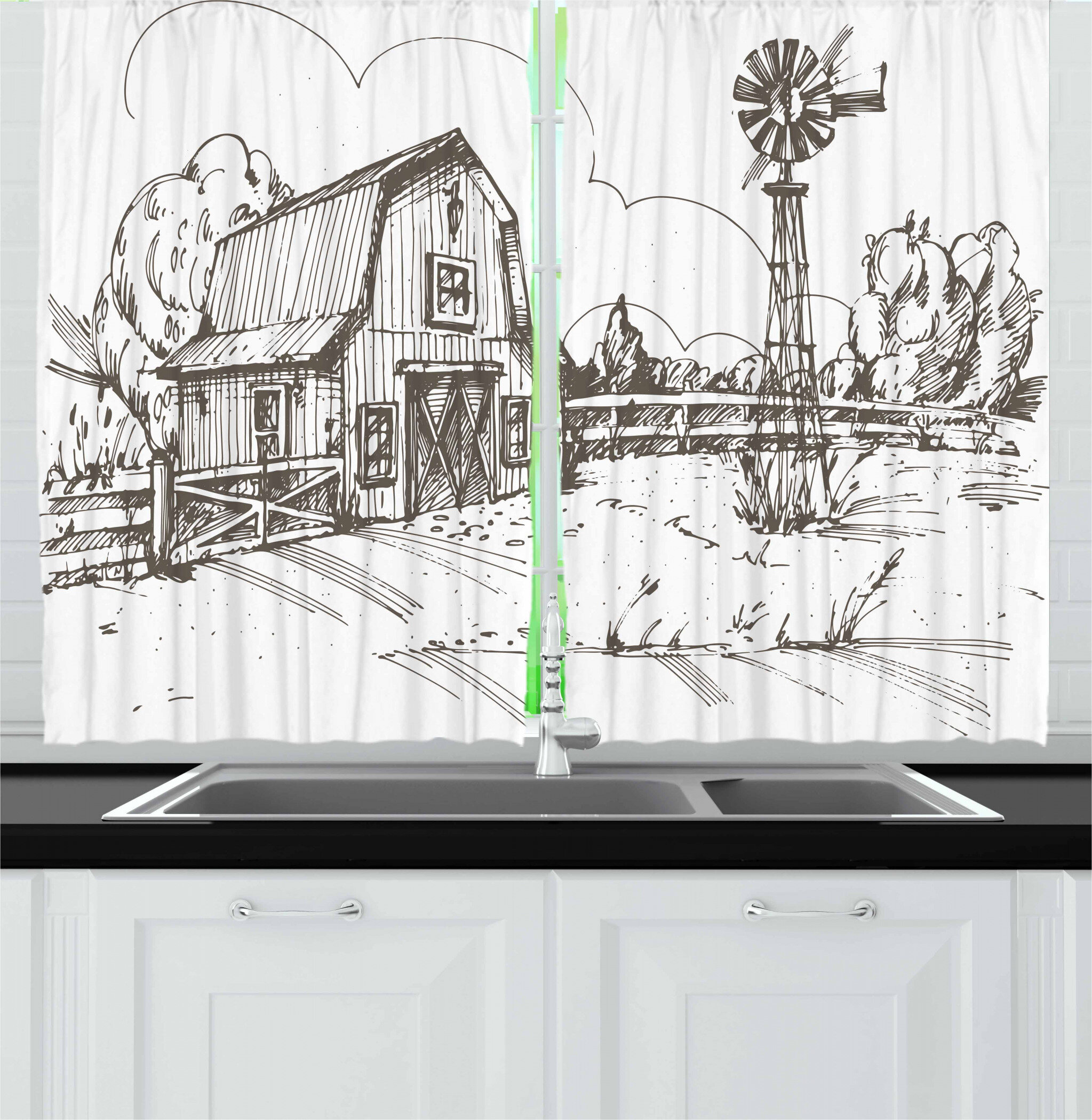 East Urban Home Windmill 2 Piece Kitchen Curtain Wayfair