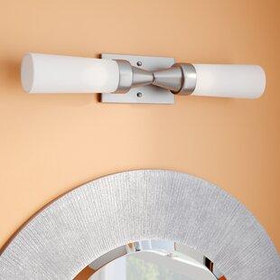 Ebern Designs Bence 2-Light Satin Nickel Bath Bar