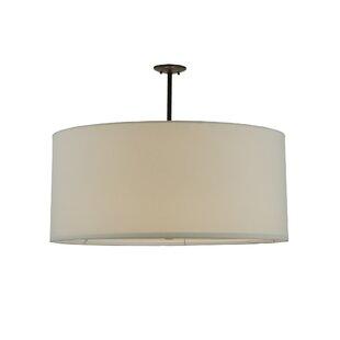 Meyda Tiffany Greenbriar Oak Cilindro White Textrene 6-Light Pendant