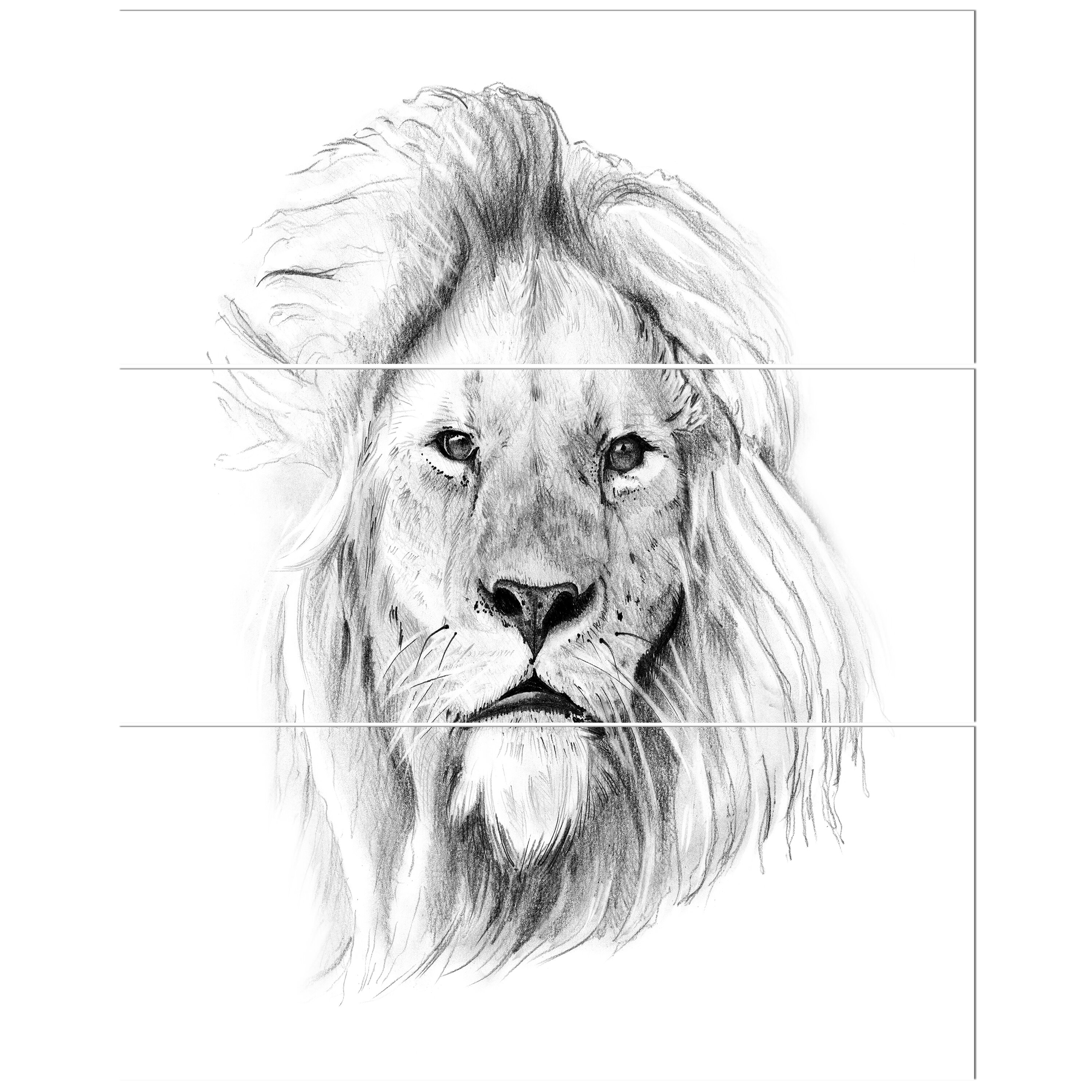 East urban home pencil lion sketch in black and white oil painting print multi piece image on wrapped canvas wayfair