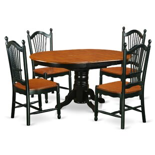 Aimee 5 Piece Solid Wood Dining Set August Grove