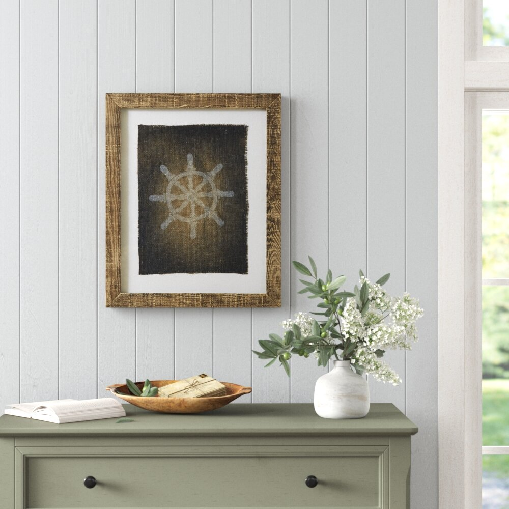 Captains Wheel Stamped Picture Frame Graphic Art Birch Lane
