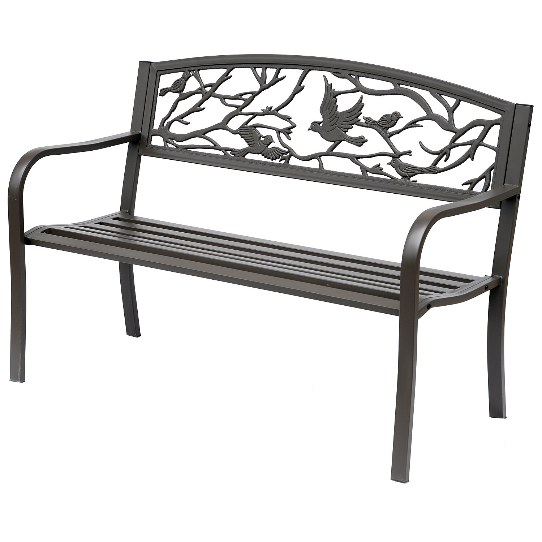 Charlton Home Madeline Vintage Bird Cast Iron Garden Bench | Wayfair