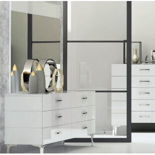 Affordable Price Parsons 6 Drawer Double Dresser with Mirror by Wade Logan