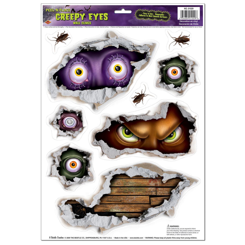 The Beistle Company Halloween Creepy Eyes Peel 'N Place Wall Decal | Wayfair