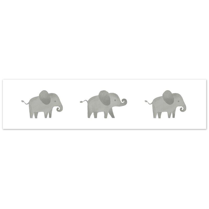 ELEPHANTS /& TROPICAL BIRDS beige// green//Wallpaper bordeR Wall