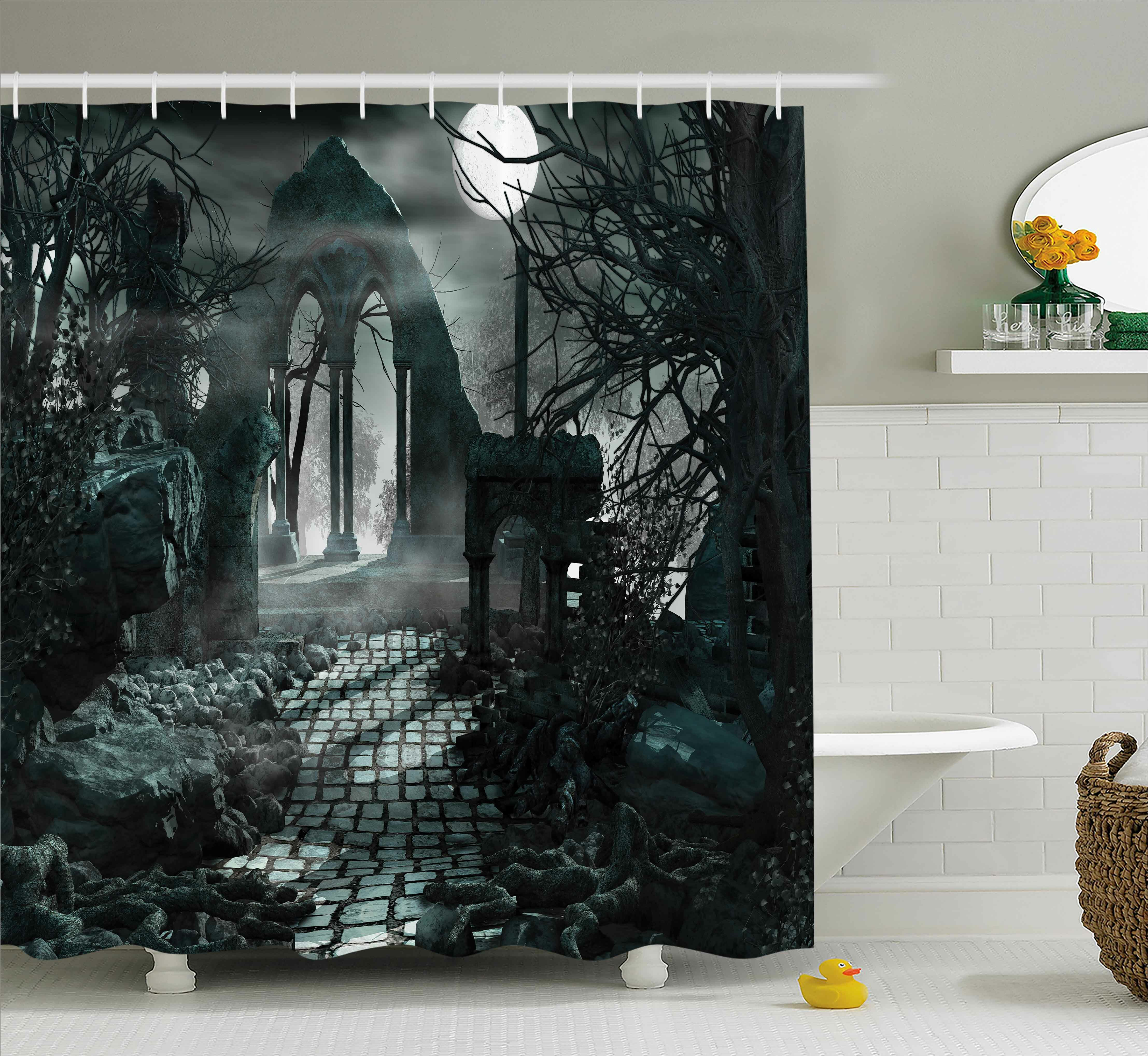 The Holiday Aisle Gothic Moon View In Scary Dark Shower Curtain