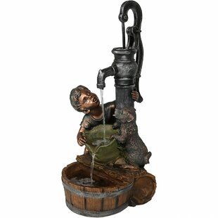 Joslin Resin Boy And Dog Drinking From Water Pump Outdoor Garden Fountain By Red Barrel Studio