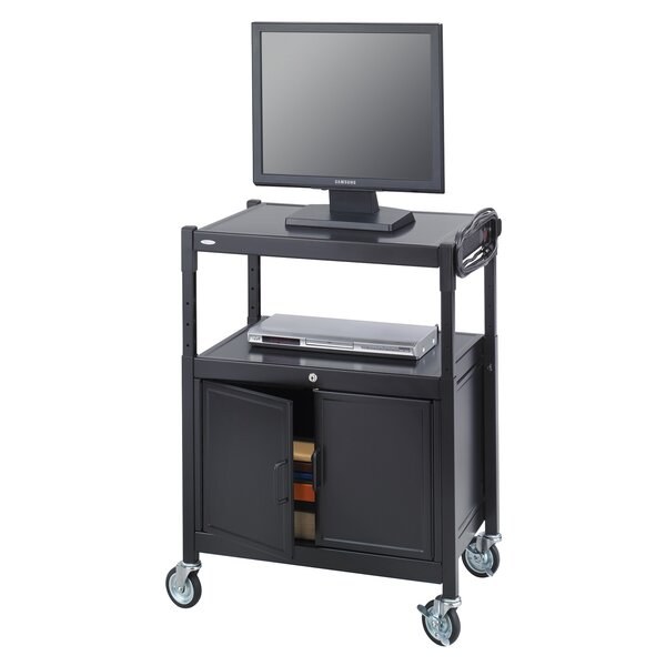 Safco Products Adjustable Mobile AV Cart With Locking Cabinet | Wayfair