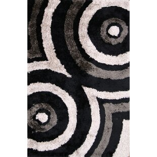 Look for Anthea Modern Shaggy Oriental Hand-Tufted Black/White/Brown Area Rug ByEbern Designs