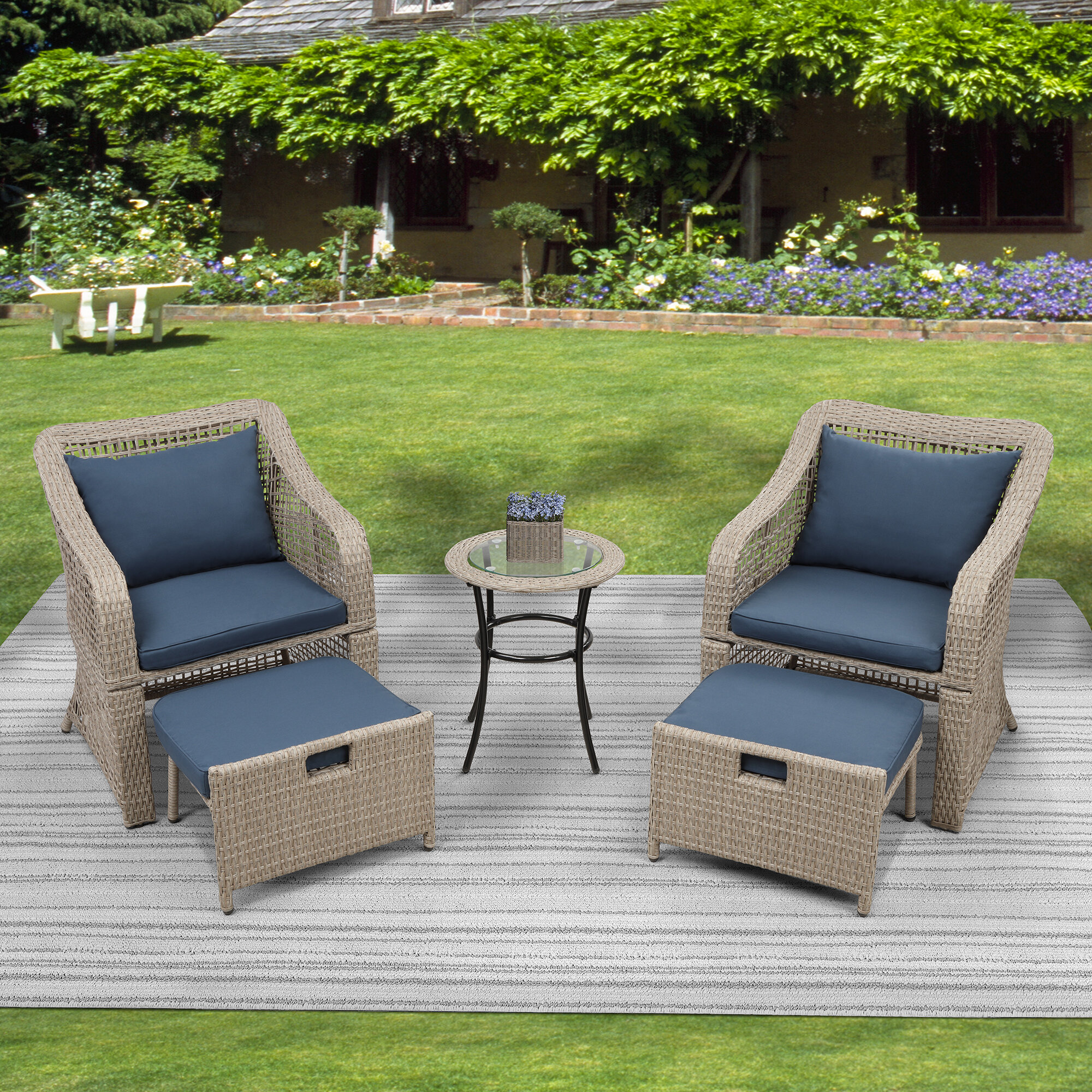 Breakwater Bay Busey 5 Piece Rattan Seating Group With Cushions Wayfair