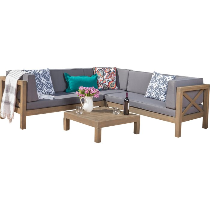Ellison 4 Piece Sectional Seating Sofa Set with Cushions