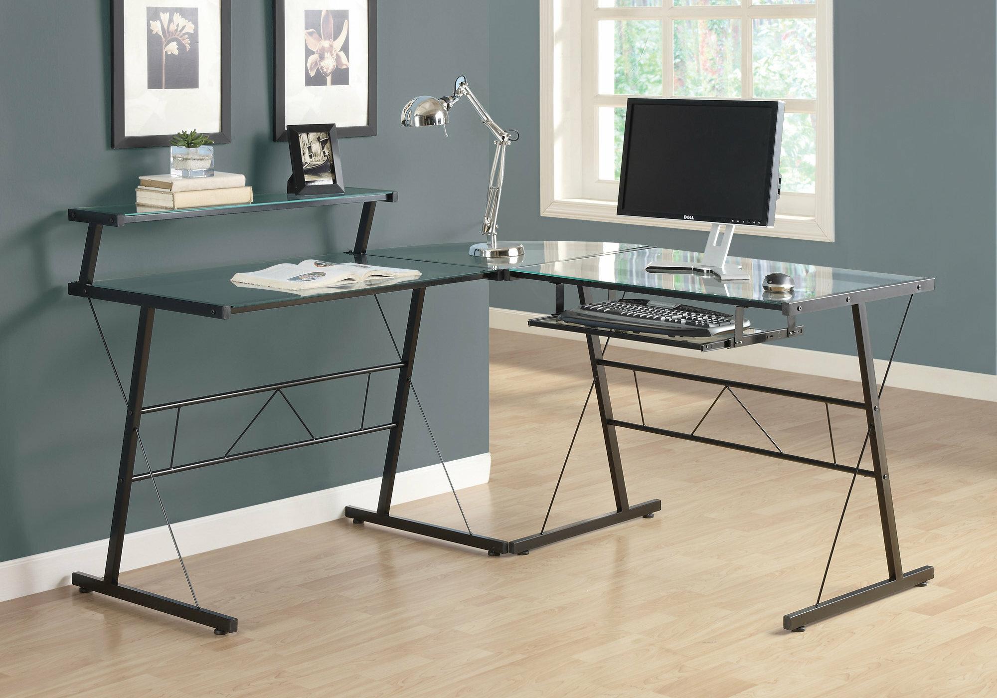 glass l shape gaming desk