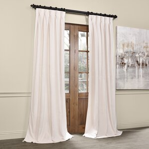 balone solid blackout thermal pinch pleat single curtain panel - Velvet Curtain