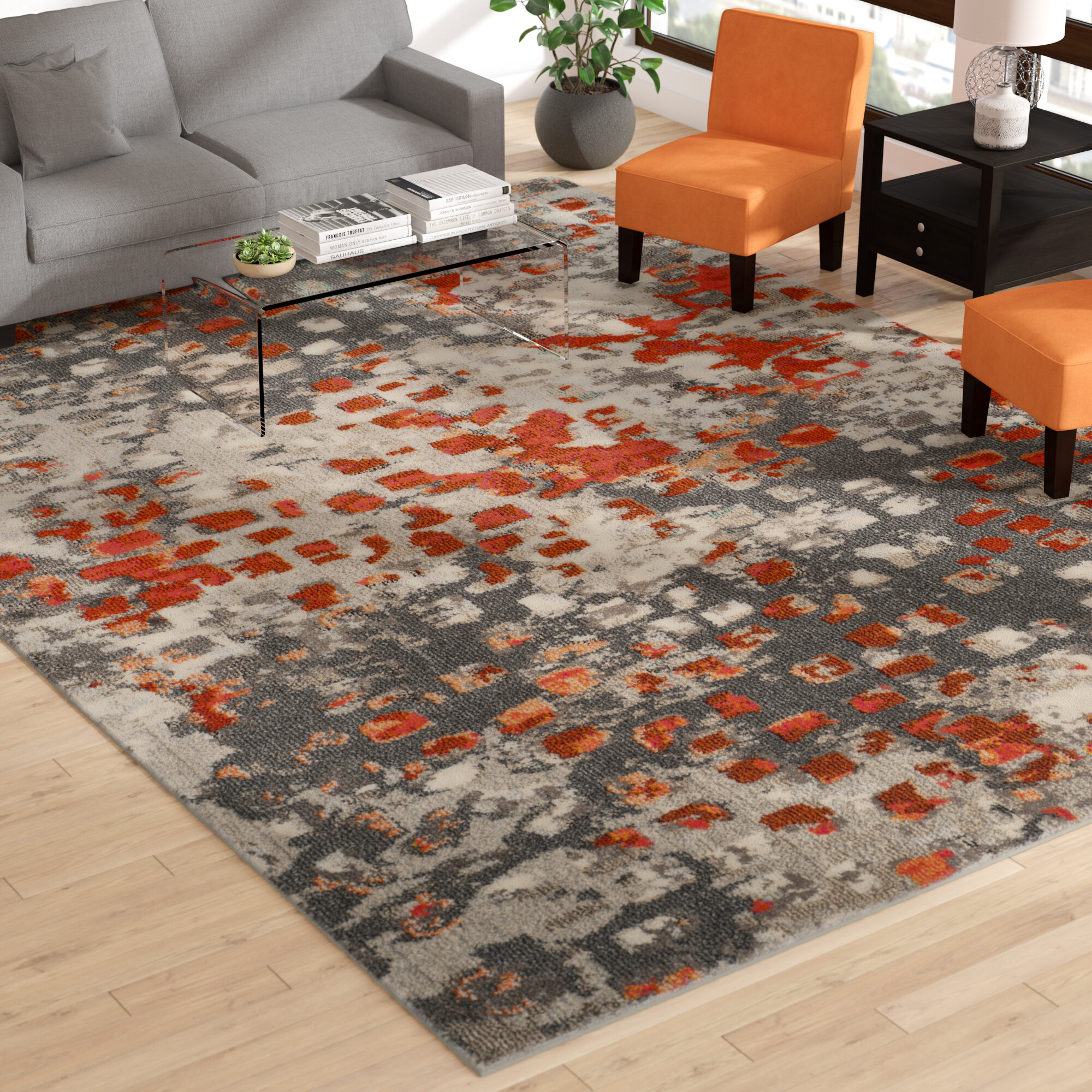 Mistana Indira Abstract Gray Orange Area Rug Reviews Wayfair