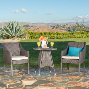 Ivy Bronx Crase Outdoor 3 Piece Bistro Set with Cushions