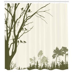 """Misty and autumn forest Shower Curtain Bathroom Decor Fabric /& 12hooks 71/"""""""