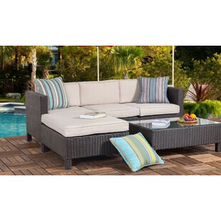 Aeliana 3 Piece Rattan Sectional Seating Group with Cushions