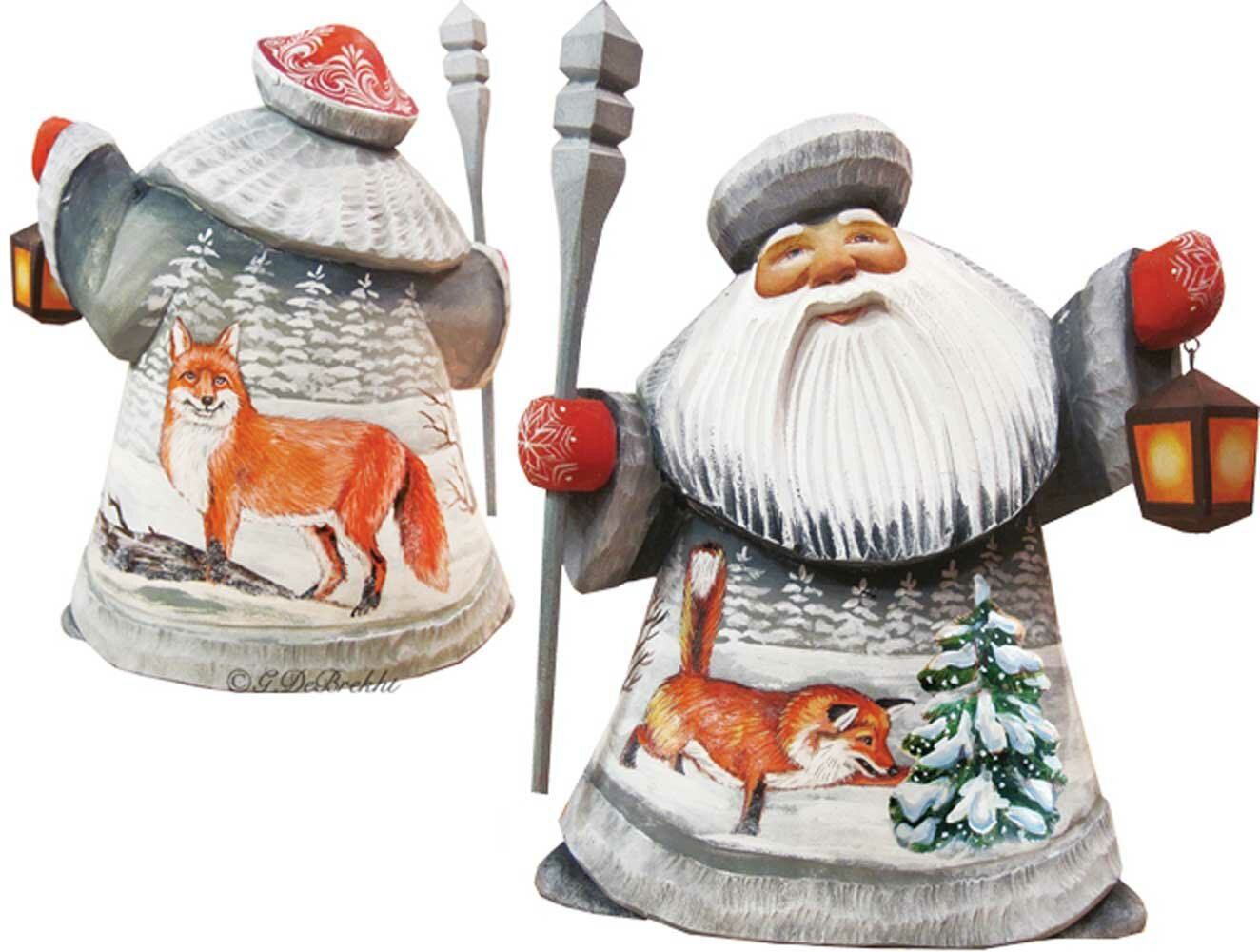 The Holiday Aisle Masterpiece Foxy Play Father Frost Woodcarved Figurine Wayfair