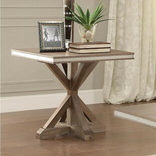 One Allium Way Krajewski Metal Banded Wooden Square End Table