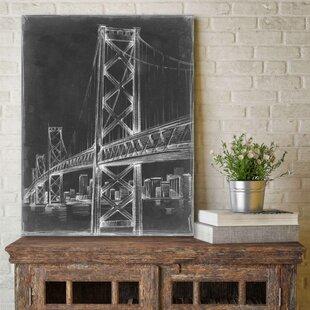 Architectural wall art birch lane suspension bridge blueprint ii graphic art print on wrapped canvas malvernweather Gallery