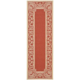 Catori Red & Natural Outdoor/Indoor Area Rug ByWorld Menagerie