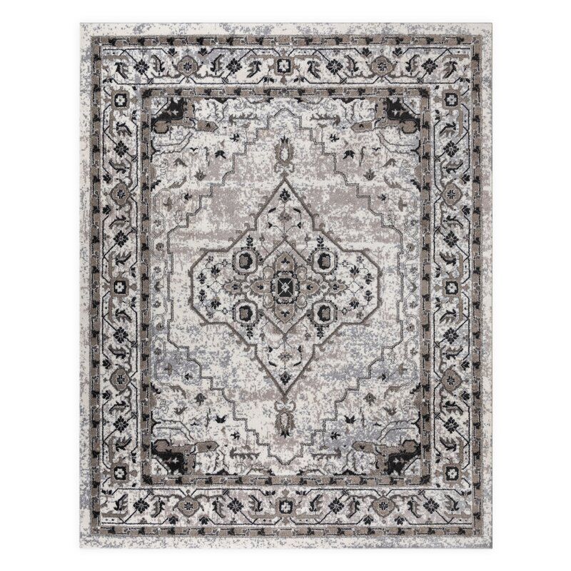 VCNY Antonia Medallion Frise Gray/Beige Area Rug, Size: Rectangle 9 x 12