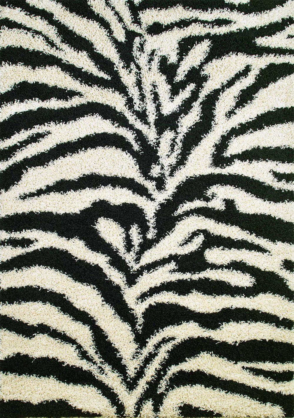 Egremt Shaggy Zebra Black White Area Rug