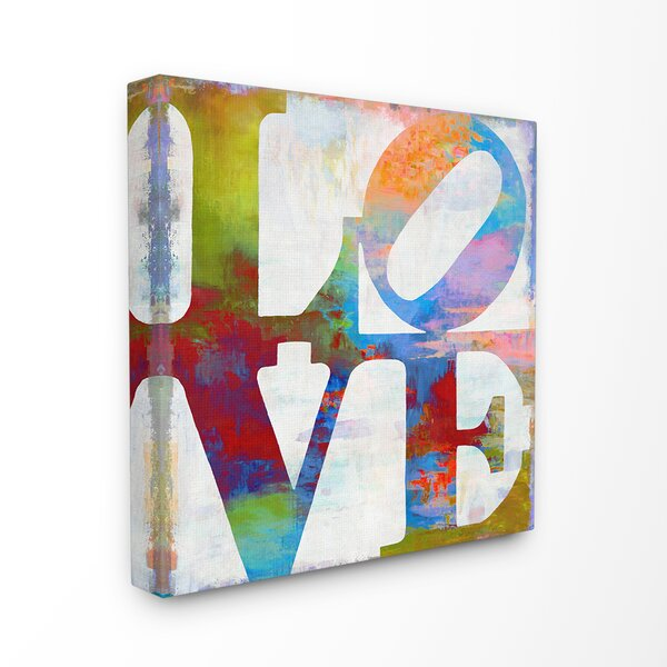 'Love Painted Textured Rainbow Typography' Graphic Art Print