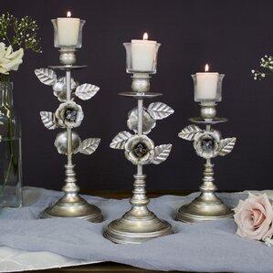 daina 3 piece glass candlestick holder set