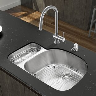VIGO 32 inch Undermount 80/20 Double Bowl 18 Gauge Stainless Steel Kitchen Sink with Gramercy Stainless Steel Faucet, Grid, Two Strainers and Soap Dispenser