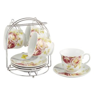 Coffee Cups on Metal Stand Floral Set (Set of 4)