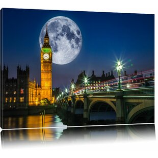 Big Ben In Front Of A Big Moon In London Wall Art On Canvas