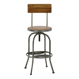 Menara Height Adjustable Swivel Bar Stool By World Menagerie