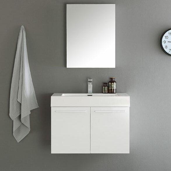 Senza 30 Vista Single Wall Mounted Modern Bathroom Vanity Set With Mirror