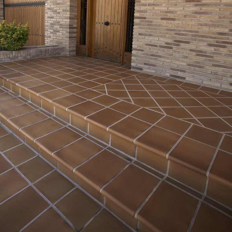Elitetile Shale 588 X 588 Ceramic Bullnose Tile Trim In Flame
