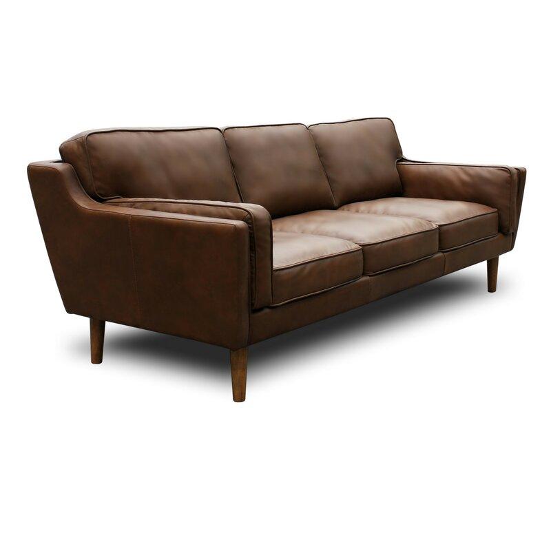 Warren Mid Century Modern Leather Sofa
